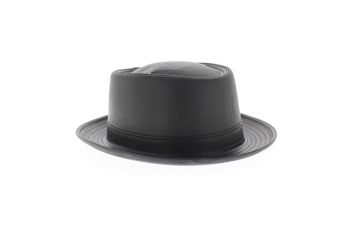 chapeau pork pie cuir achat chapeau. Black Bedroom Furniture Sets. Home Design Ideas