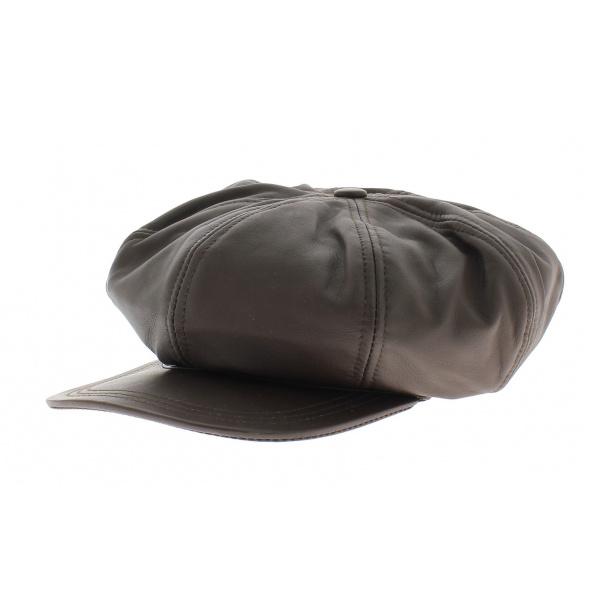 Casquette cuir montagny marron foncé