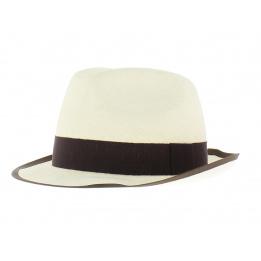 Chapeau de paille blanc ruban marine