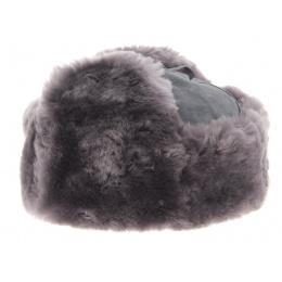 Chapka Bleu-gris cuir et mouton - Wegener