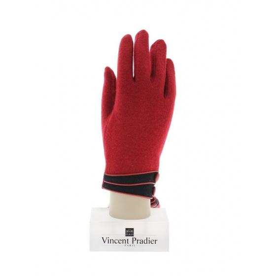 Red Wool & Nylon Gloves for Women - Vincent Pradier