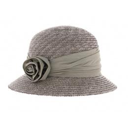 Chapeau cloche paille  gris perle