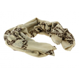 Foulard Peace and Skull beige