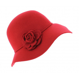 Capeline Feutre laine Rouge - Traclet