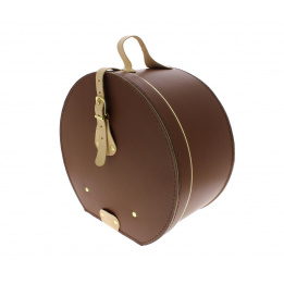 Brown leather hat box - Traclet