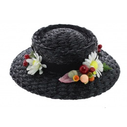 Mary Poppins Synthetic Straw Hat Black - Traclet