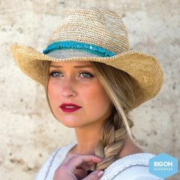 Chapeau Cowboy Castaway Raffia Turquoise
