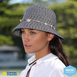 Chapeau Cloche Bicolore Naturel-Marron - Rigon Headwear