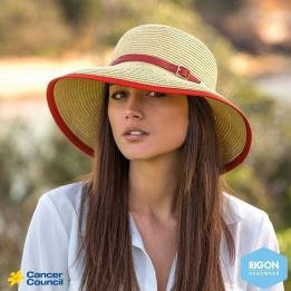 Chapeau Cloche Ladies Naturel/Rouge - Rigon Headwear