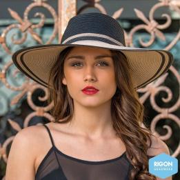 Capeline Bicolore Noir & Marron- Rigon Headwear