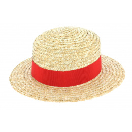 Children boater hat red