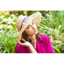 Chapeau paille capeline Esthete Rose & Orange