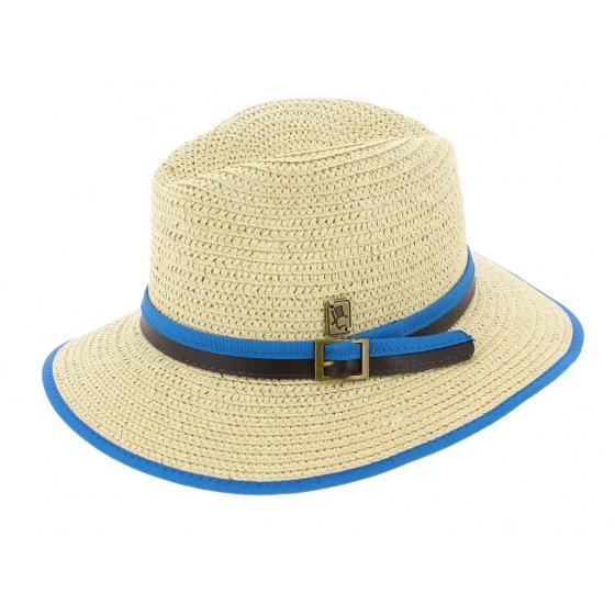 Hodge Traveller Hat Straw Paper Blue - Herman Headwear
