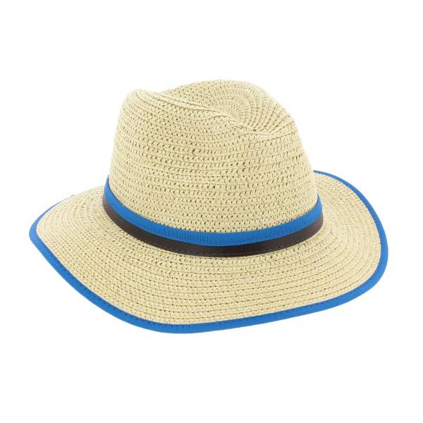 Chapeau Traveller Hodge Paille Papier Bleu - Herman Headwear