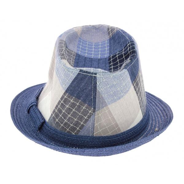 Chapeau Enfant Trilby Royal Kid Paille Papier Bleu - Traclet