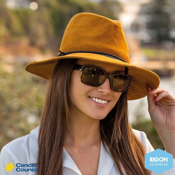 Chapeau traveller suédine turquoise - Rigon Headwear