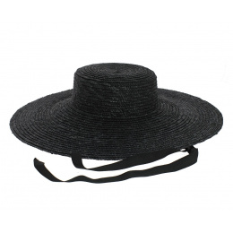 Black straw floppy hat - Saint-Tropez