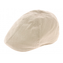 Beige Organic Cotton Flat Cap - Stetson