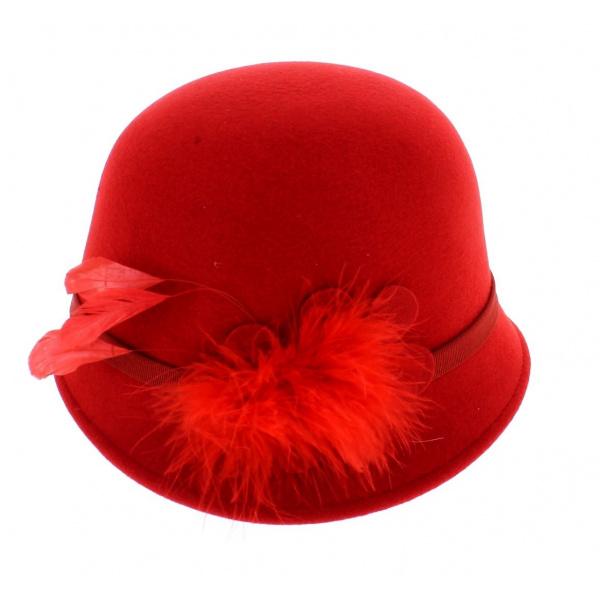 Chapeau cloche rouge année 30