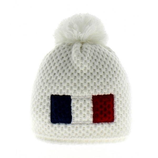 Bonnet France Blanc pompon Le Drapo France