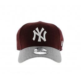 Casquette Baseball NY Yankees-New Era MLB Heather Visor-Bordeaux-Gris
