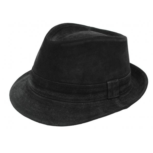 Chapeau trilby cuir Noir