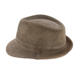 Trilby hat brown leather