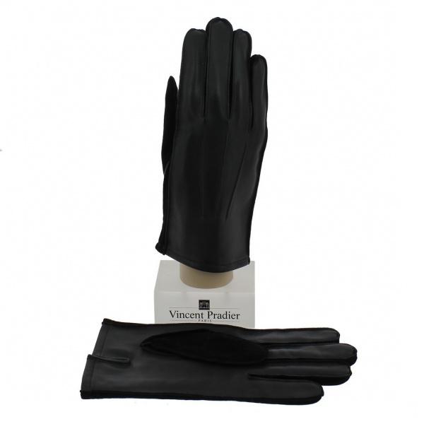 Sheepskin & Suede Black Leather Glove for Men - Vincent Pradier
