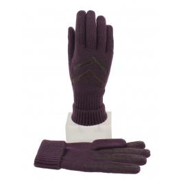 Gants Femme Acrylique Violet & Marron - Isotoner