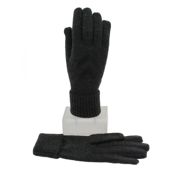 Gants Femme Acrylique Gris & Noir - Isotoner