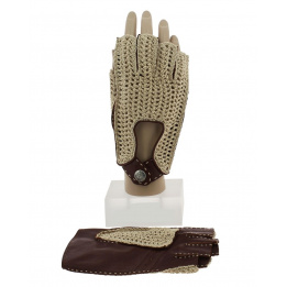 Mitaine de Conduite Cuir & Coton Marron - Glove Story