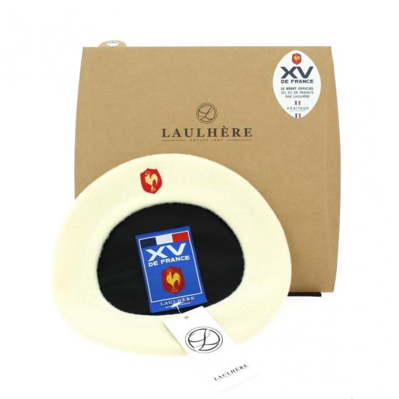 Béret blanc officiel XV de France Coq brodé - Héritage par Laulhère