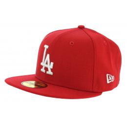 Casquette Fitted Basics LA Dodgers Laine Rouge - New Era