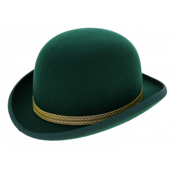Bowler Hat Felt felt Wool Green trimmings - Traclet