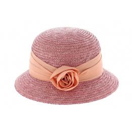 Chapeau cloche paille rose