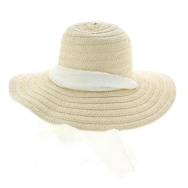 Chapeau capeline naturel Manly Paille Papier