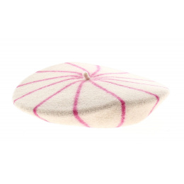 Beret enfant rayures rose  - le beret francais