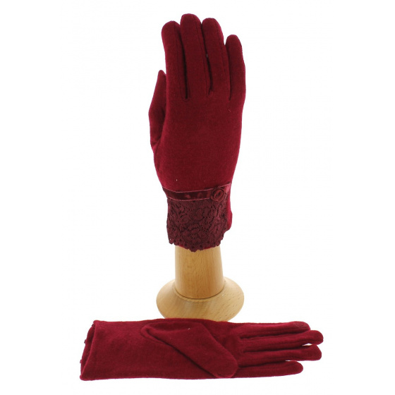 Women's Tactile Gloves Red Wool - Traclet