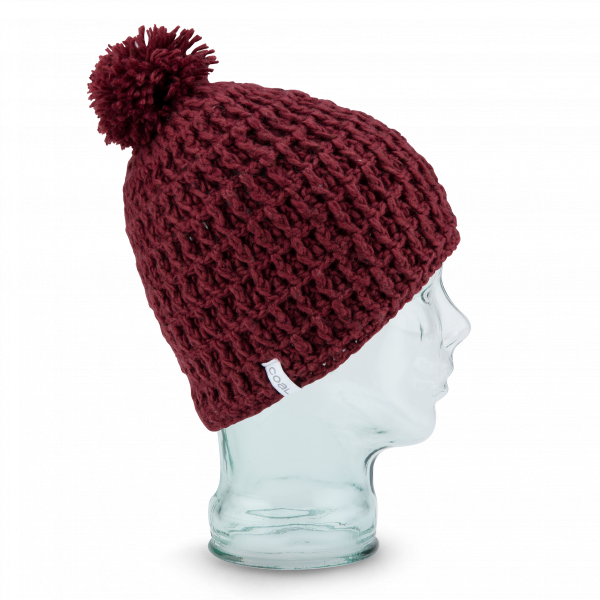 Bonnet Pompon The Waffle Laine Doublé Polaire Bordeaux - Coal