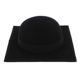 Stanford Square Hat Black Wool Felt - Traclet