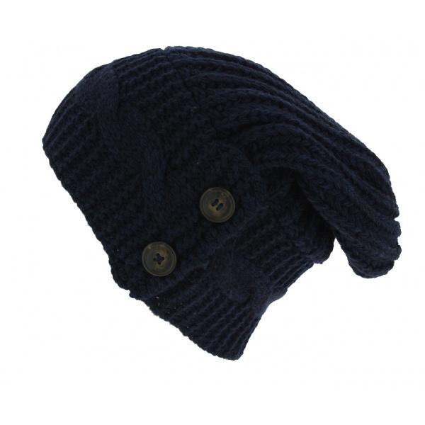 Bonnet Oversize Thorens Laine & Acrylique Bleu - Traclet
