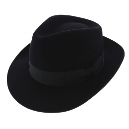 Chapeau Fédora Curzio Feutre Poil Noir - Traclet