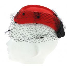 Chapeau E.VERLE PARIS rouge voilette pour soirée élégance