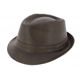 Chapeau Trilby Goody Dust Imitation Cuir Marron - Traclet