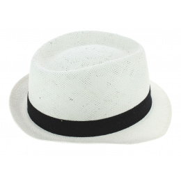 Trilby Navagio Straw White Paper Trilby Hat - Fléchet