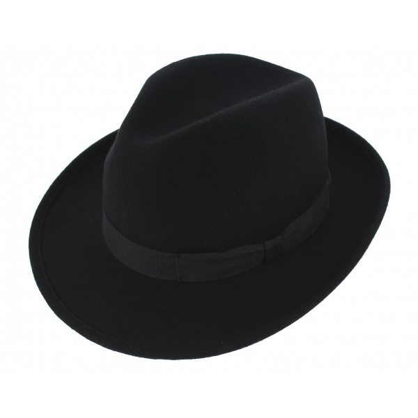 Fedora Hats Wool Felt Black- Traclet