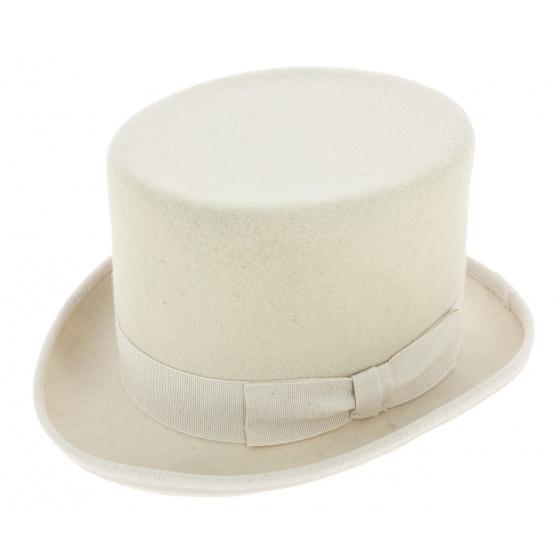 White Wool Felt Top Hat - Guerra