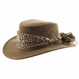 Chapeau Australien cuir femme Marron  - Jacaru