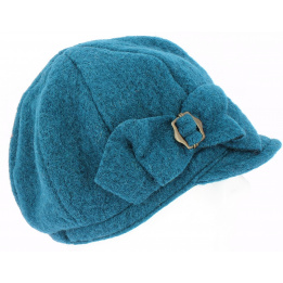 Casquette gavroche  Liliana Turquoise  Laine Bouillie -Traclet