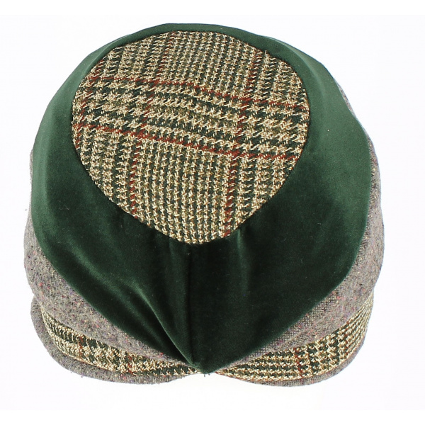 Casquette Gavroche Mirna Laine Style Patchwork Noir - Traclet